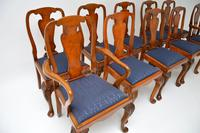 Set of 10 Antique Queen Anne Style Burr Walnut Dining Chairs (12 of 13)