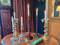 19th Century Wooden Turned Candlesticks (7 of 8)