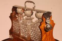 Liquor Cellar / Tantalus In Silver Metal And Oak Three Crystal Bottles - 19th Century (8 of 10)
