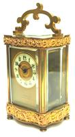 Fine Antique French 8-day Serpentine Fleur De Lis Decorated Panel 8-day Carriage Clock Timepiece c.1890 (9 of 10)