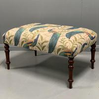 Regency centre footstool with peacock upholstery
