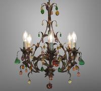 Murano Glass a Fruit Venetian 6 Arm Toleware Ceiling Light Chandelier (2 of 9)
