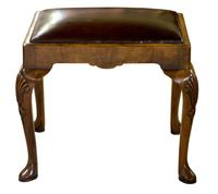 Queen Anne Style Walnut Stool with Burgundy Leather Seat (5 of 6)