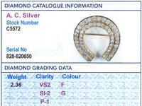 2.36ct Diamond & 9ct Yellow Gold Horseshoe Brooch - Antique c.1890 (8 of 9)
