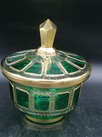 Antique Bohemian Cabochons Glass Covered Bowl, Box, Biscuits Jar (2 of 10)