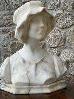 Alabaster Bust of Young Girl Wearing a Bonnet (24 of 25)