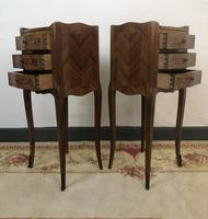 French Marquetry Kingwood Bedside Tables Rustic Distressed (5 of 13)