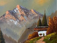 The Three Peaks 20thc Vintage Swiss School - Mountainous Landscape Oil Painting (8 of 12)