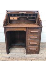 Antique Early 20th Century Oak Roll Top Desk (5 of 13)