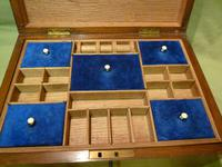 Solid Figured Oak Jewellery / Work Box - Fitted Tray (3 of 10)