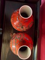 Pair of Chinese Red Oxide Five Claw Dragon Vases c.1900 (10 of 10)