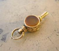 Goergian Pocket Watch Chain Fob 1830s Antique 10ct Gold Filled Stone Set Fob (5 of 9)