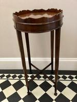 Small Antique  Wine or Candle Table With Galleried Top & Pull Out Shelf (10 of 13)