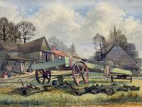 The Green Cart by R.Coleman 1971 - Fine Farmstead Landscape Watercolour Painting (3 of 11)