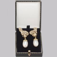 Vintage Diamond & Pearl Drop Earrings 1950s 18ct Gold 3.5carat Diamond Earrings (10 of 11)