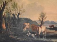 Fine Georgian Landscape Oil Painting with Cattle & Dog (5 of 8)