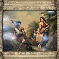 Antique Georgian oil painting on tin of piper playing to two ladies (11 of 12)