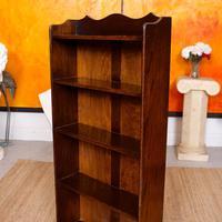Carved Oak Open Bookcase Bookshelves (2 of 8)