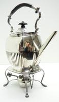 English Victorian Antique Solid Silver Spirit Kettle with Original Silver Burner c.1900 (2 of 9)