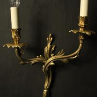 French Pair of Bronze Antique Wall Sconces (3 of 10)