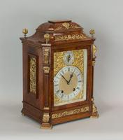Fine quality burr walnut bracket clock by Lenzkirch of Germany, with a quarter chiming movement c.1903 (5 of 14)