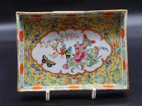 Beautifully Enamelled Late 19th Century Chinese Porcelain Card Tray