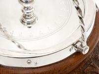 Antique Oak and Silver Plated Barrel with a Rope Swing Handle and White China Liner (2 of 5)