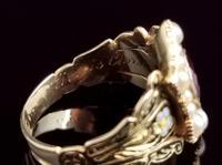 Antique Mourning Ring, 18ct Gold, Enamel, Pearl & Garnet - William IV (11 of 13)