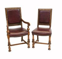 Set of Oak Dining Chairs English Antique Farmhouse Furniture (3 of 13)