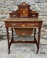 Antique Rosewood Inlaid Writing Desk (2 of 19)