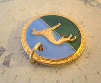 Vintage Pocket Watch Chain Fob 1940s Rose Gilt & Enamel Greyhound Dog Nos (3 of 7)