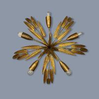 Spanish Ferro Art Gilt Palm Ceiling Light (5 of 11)