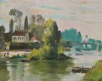 Original 1902 Antique French Riverscape Landscape Oil on Canvas Painting (4 of 13)