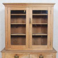 Arts & Crafts Pine Glazed Bookcase School Display Cabinet Dresser (2 of 12)
