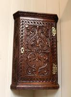 Mid 19th Century Carved Oak Corner Wall Cabinet (3 of 8)