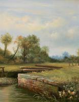 Superb Large Vintage Gilt-Framed Landscape Oil Painting of Barge on the Canal (3 of 13)