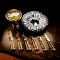 Antique Victorian Solid Silver Gilt Fruit / Dessert Knives & Forks Set of Six in Queens Pattern - Aaron Hadfield 1839 (13 of 32)