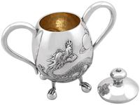 Chinese Export Silver Three Piece Tea Service - Antique c.1920 (8 of 15)