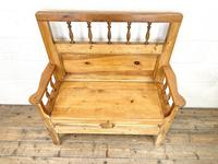 Vintage Pine Settle Bench with Storagev (6 of 10)