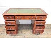 Reproduction Yew Wood Kneehole Desk (9 of 12)