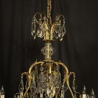 French Gilded Bronze & Crystal 11 Light Birdcage Chandelier (7 of 10)