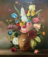 Striking Early 1900s Antique Large Floral Display Oil on Canvas Painting (3 of 12)