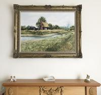 John Ridgewell Essex Cottage Superb Large Oil Painting Excellent Frame (3 of 9)
