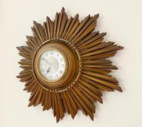 Stylish Art Deco Carved Giltwood Starburst Clock c.1930 (3 of 8)