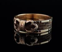 Antique mourning ring, 15ct gold, hairwork (9 of 10)