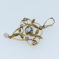 Antique Aquamarine Paste & Pearl 9ct Yellow Gold Lavalier Pendant (4 of 8)