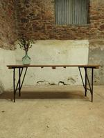 Industrial Vintage Folding Trestle Dining Table with Metal Legs & Reclaimed Top (14 of 17)