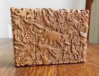 Rare Victorian Stunning Chinese Export Sandal Wood Carved Elephant Card Case (7 of 13)