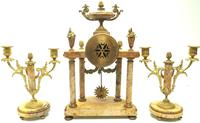 Antique 8 Day French Ormolu & Marble Mantel Clock Set with 2 Branch Candelabras (8 of 10)