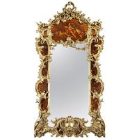 Large Giltwood & Vernis Martin Mirror by Louis Majorelle from the Dutch Royal